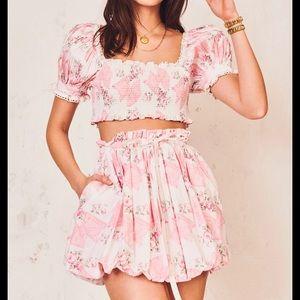 LoveShackFancy Cheyenne Mini Skirt pink mint